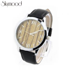 steel and zebra wood face watch with leather band side view picture
