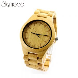 full bamboo round wood grain watch side view picture