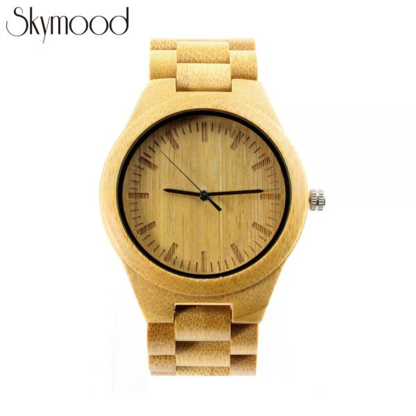 full bamboo round wood grain watch front view picture