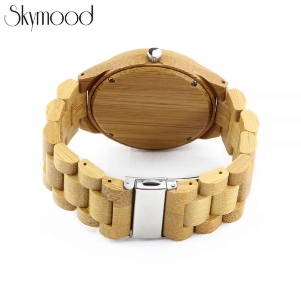 wood grain watfulfull bamboo round and no number dial wood mens watch rear view picture
