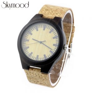 ebony case and bamboo dial round cork wood leather wood me watches side view picture
