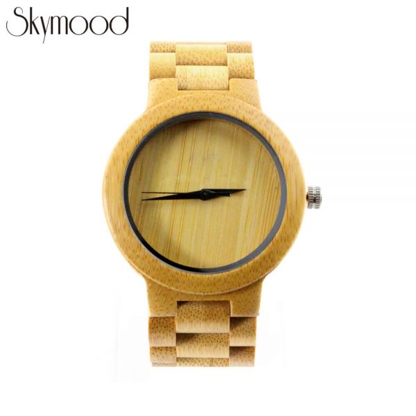 full bamboo round and no number dial wood mens watch overall picture