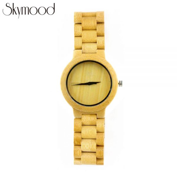full bamboo round and no number dial wood mens watch front view picture