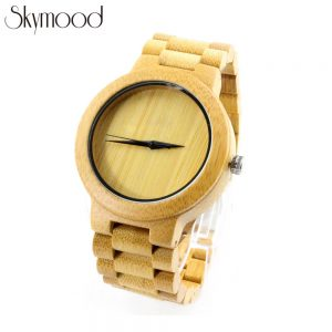 full bamboo round and no number dial wood mens watch size chart