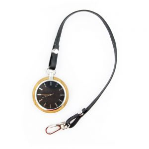 portable bamboo case and ebony dial wood pocket watch show picture