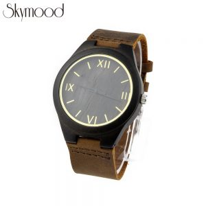 ebony case with golden roman numeral dial wood watch leather band men side view picture