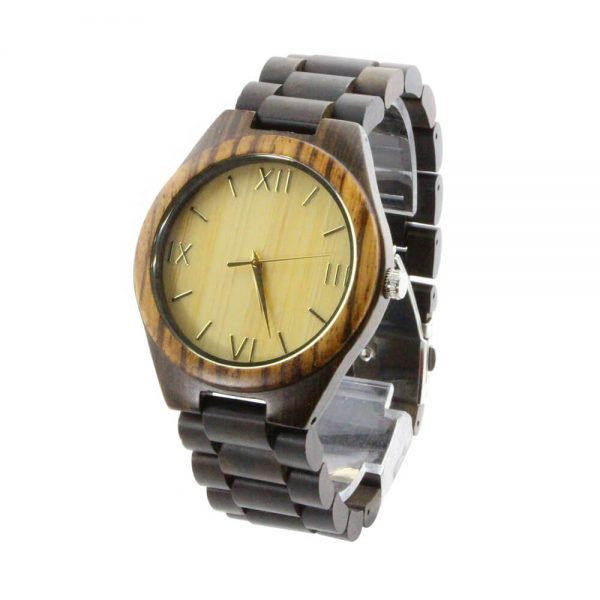 zebra ring and ebony case with roman numeral dial wood watch mens overall picture