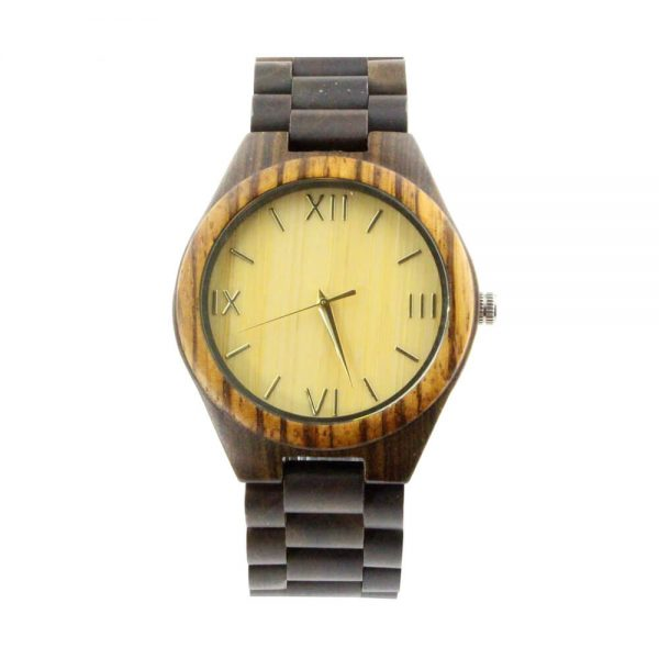 zebra ring and ebony case with roman numeral dial wood watch mens front view picture
