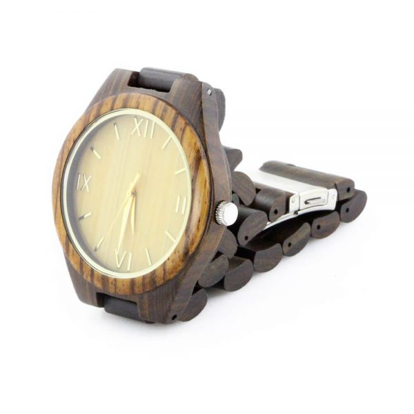 zebra ring and ebony case with roman numeral dial wood watch mens side picture
