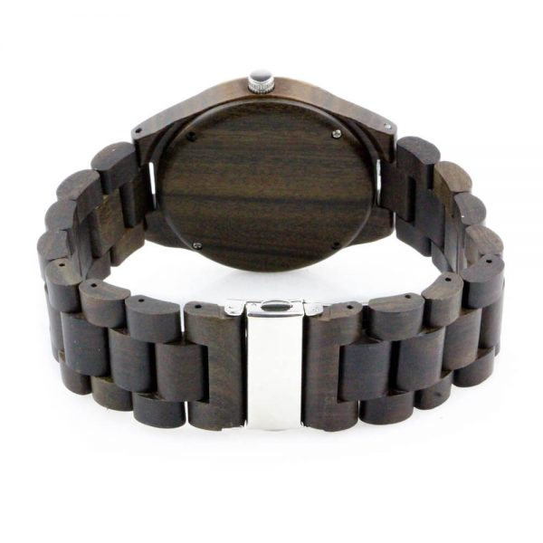 zebra ring and ebony case with roman numeral dial wood watch mens rear view picture