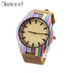 skateboard wood watch women with brown leather band physical picture