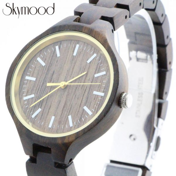 men round walnut wood watches with no number dial enlarged view picture