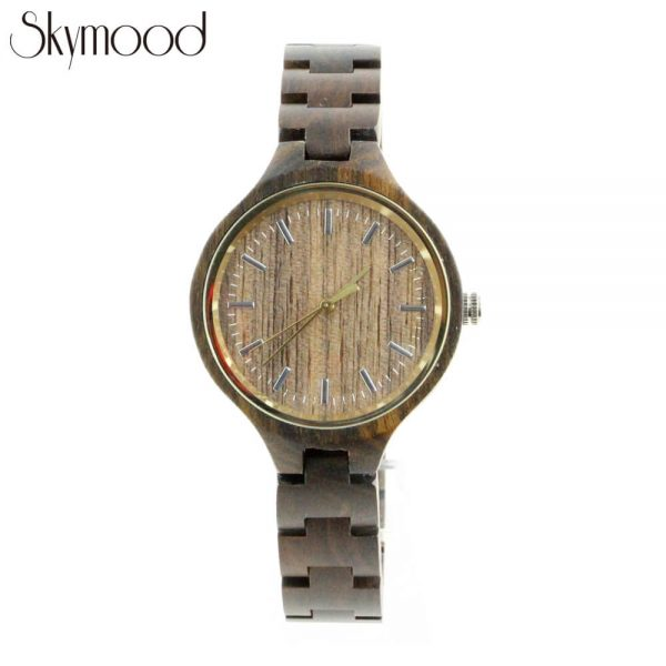 men round walnut wood watches with no number dial front view picture