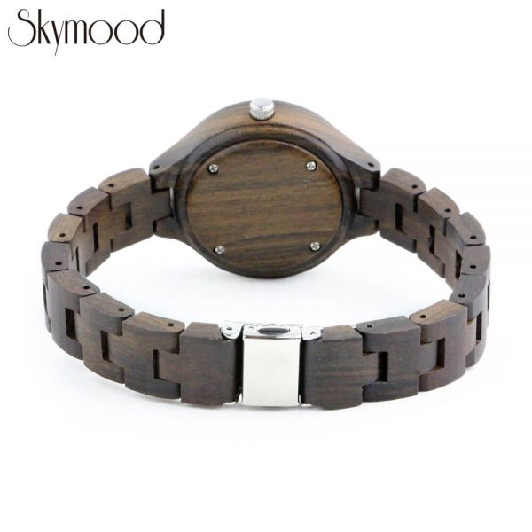 men round walnut wood watches with no number dial rear view picture