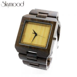 square walnut wood watches toronto and bamboo no number dial side view picture