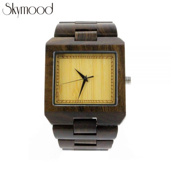 square walnut wood watches toronto and bamboo no number dial show picture