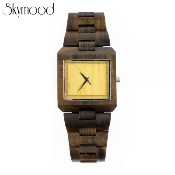 square walnut wood watches toronto and bamboo no number dial front view picture