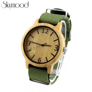 bamboo big dial nylon strap wood wood military sport watch side view picture