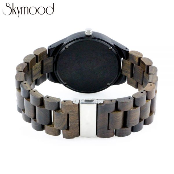 men ebony wooden bracelet watch with no number dial rear view picture