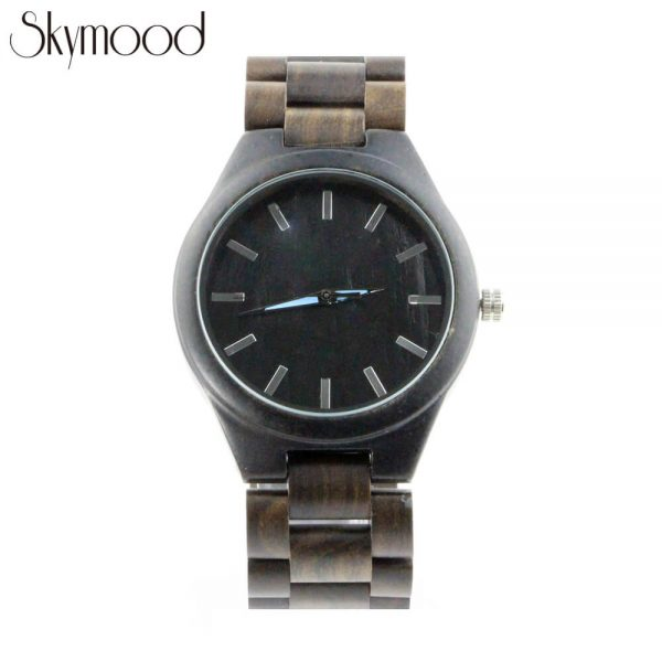 men ebony wooden bracelet watch with no number dial show picture