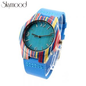 skateboard wood and blue bamboo dial young wooden ladies watch side view picture
