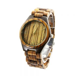 oversize zebra ring and ebony case wooden mens watch with roman numeral dial physical picture