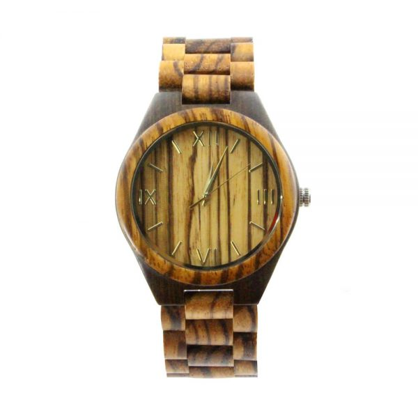 oversize zebra ring and ebony case wooden mens watch with roman numeral dial show picture