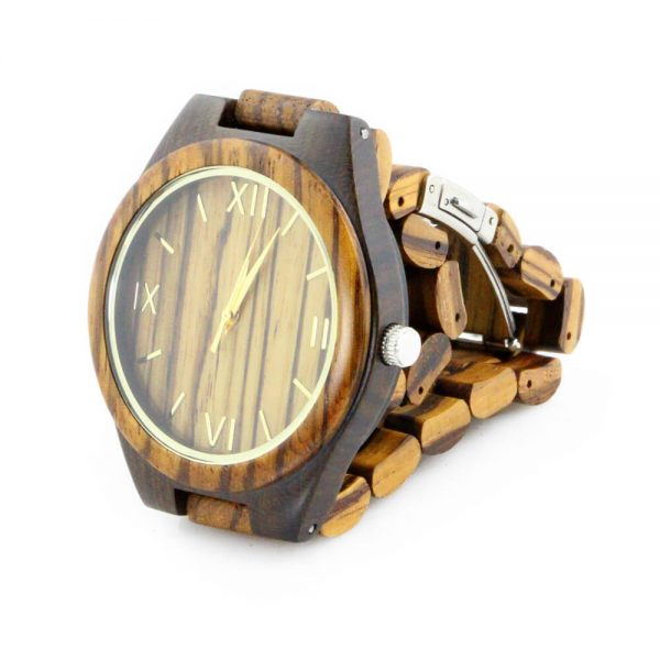 oversize zebra ring and ebony case wooden mens watch with roman numeral dial side view picture