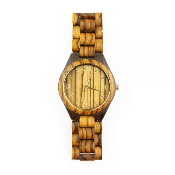 oversize zebra ring and ebony case wooden mens watch with roman numeral dial front view picture