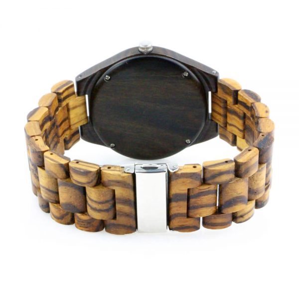 oversize zebra ring and ebony case wooden mens watch with roman numeral dial rear view picture