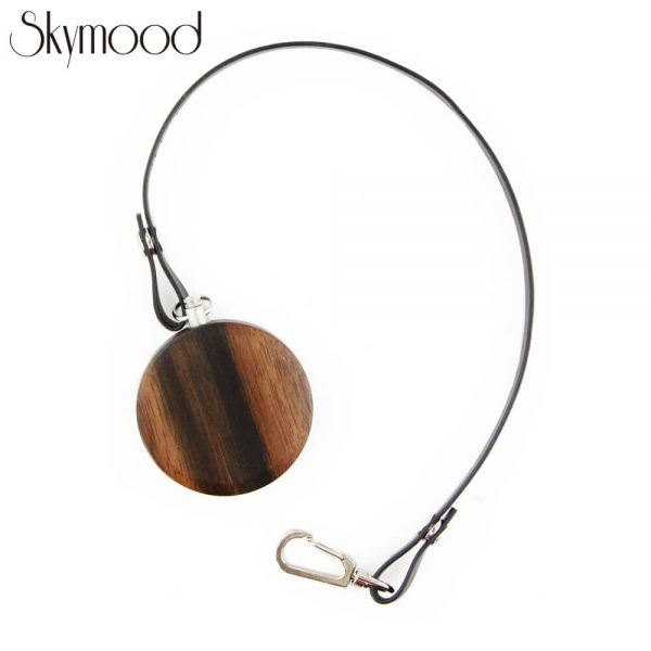 fashion walnut case and bamboo dial leather band wooden pocket watch rear view picture