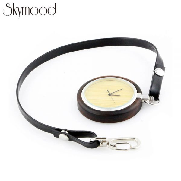 fashion walnut case and bamboo dial leather band wooden pocket watch side view picture