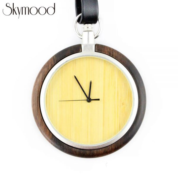 fashion walnut case and bamboo dial leather band wooden pocket watch front view picture