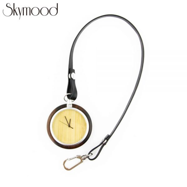 fashion walnut case and bamboo dial leather band wooden pocket watch show picture