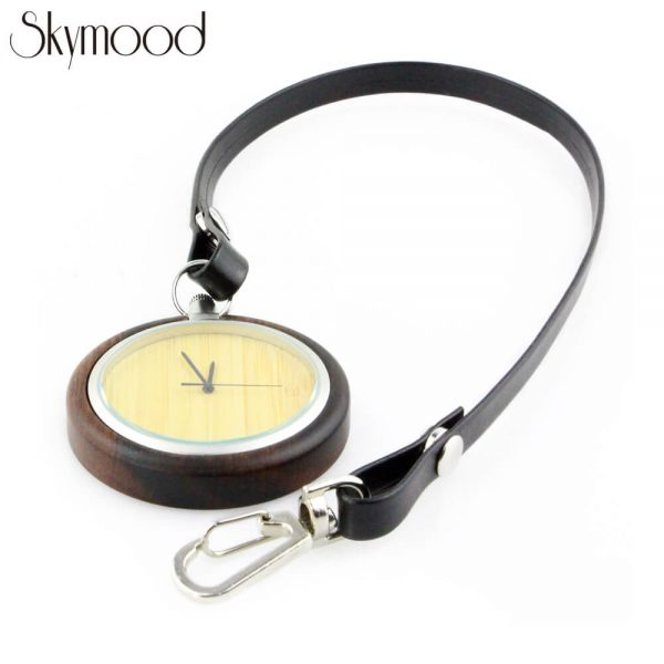 fashion walnut case and bamboo dial leather band wooden pocket watch physical picture
