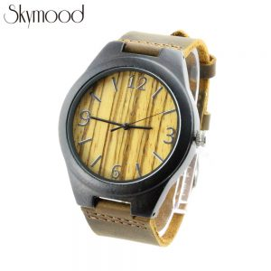 ebony case and zebra number dial wooden watches cheap leather strap side view picture