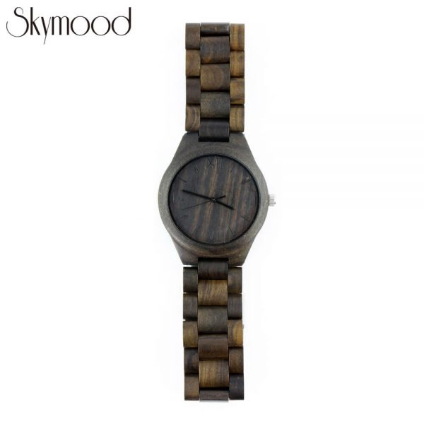 men ebony full wooden wrist watch with roman numeral dial overall picture