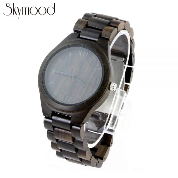 men ebony full wooden wrist watch with roman numeral dial side view picture