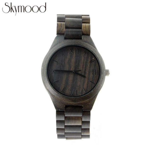 men ebony full wooden wrist watch with roman numeral dial front view picture