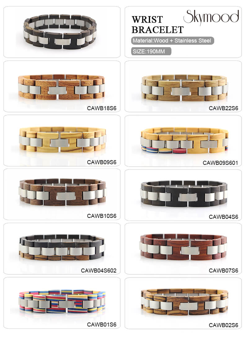 stainless steel wood bracelets CAWB04S602 (5)