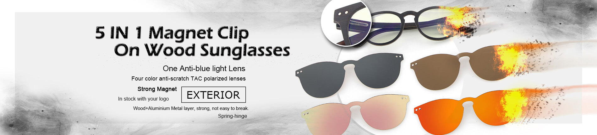 5 in 1 magnet clip on wood sunglasses