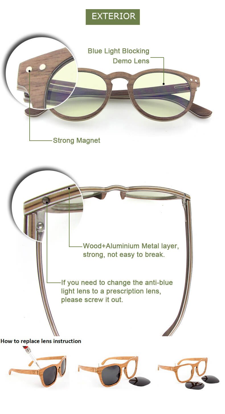 best clip on wood sunglasses