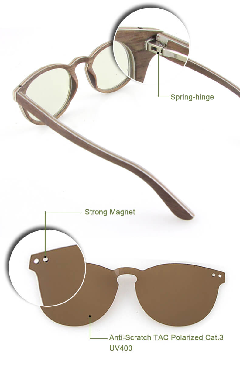 clip on wood sunglasses designer