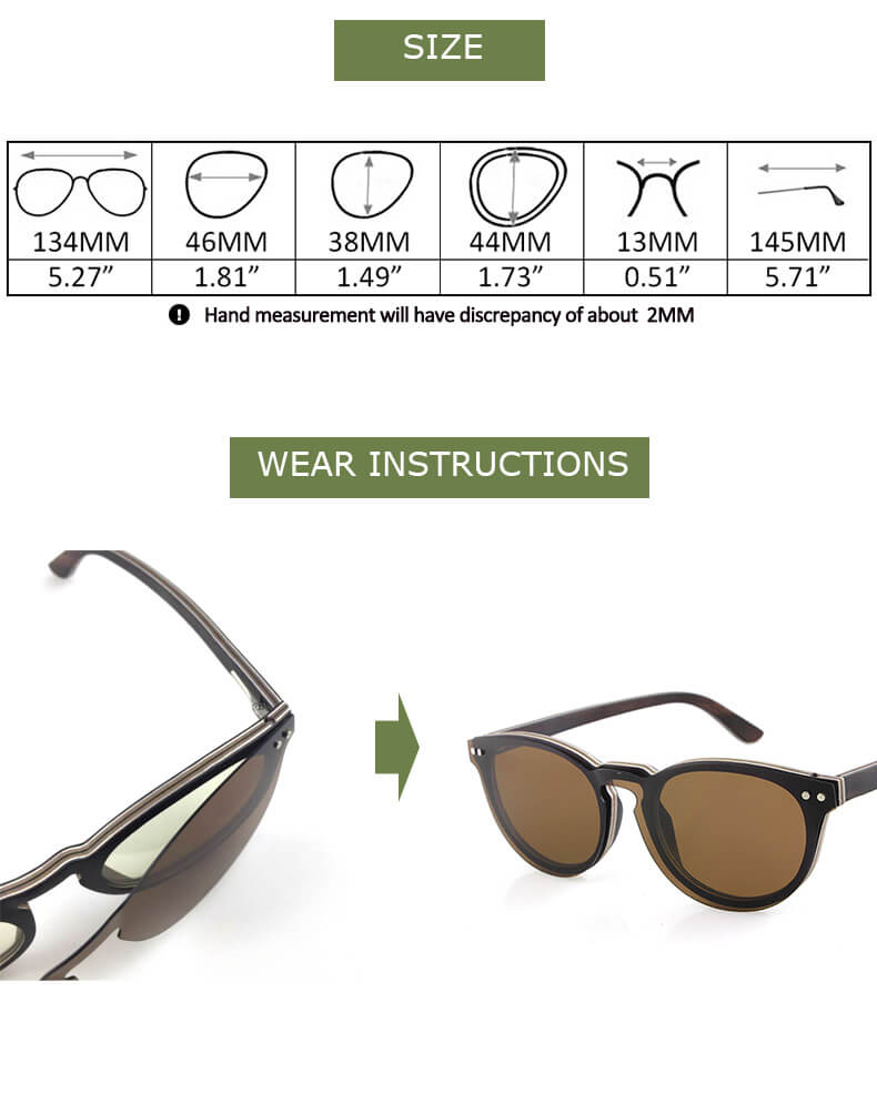 clip on wood sunglasses for spectacles
